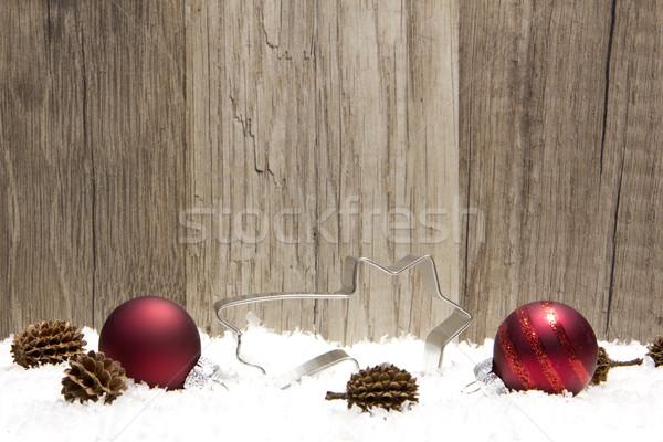 Natale decorazione legno neve rosso stella cadente Foto d'archivio © Tomjac1980