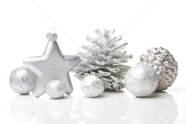Noel süs dekorasyon çam star gümüş Stok fotoğraf © Tomjac1980