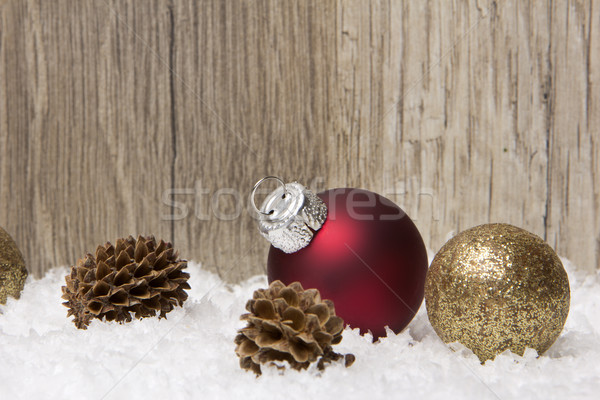 Stock photo: christmas, christmas ornament red and brown