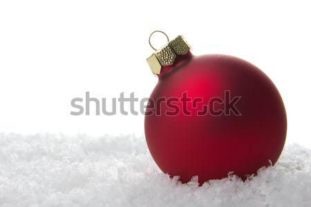 ストックフォト: クリスマス · 装飾 · 赤 · 安物の宝石 · 人工的な · 雪