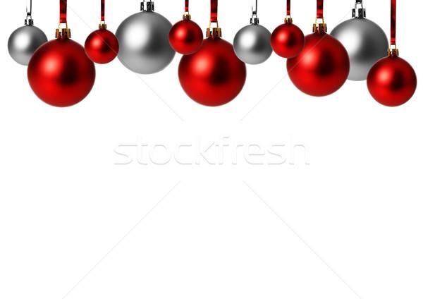 Noel süs kırmızı gri gümüş Stok fotoğraf © Tomjac1980