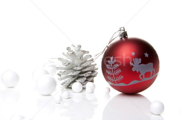 Noel dekorasyon önemsiz şey kırmızı gümüş beyaz Stok fotoğraf © Tomjac1980