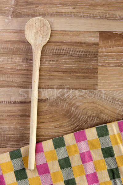 Cuchara de madera madera colorido té toalla Foto stock © Tomjac1980