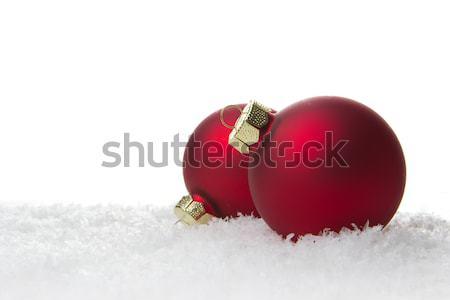 Noel süs kırmızı kar ağaç Stok fotoğraf © Tomjac1980