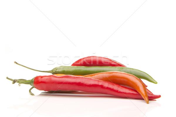 Peperoni verscheidene Rood groene hot paprika Stockfoto © Tomjac1980