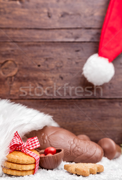 Festive Christmas background with sweets and decoration Stock photo © tommyandone