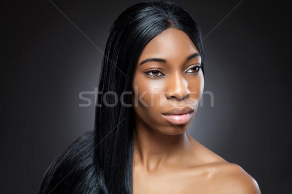 Preto beleza longo cabelos lisos jovem mulher Foto stock © tommyandone