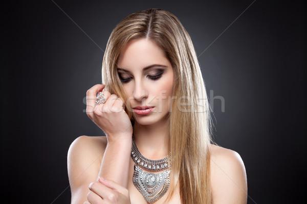 Młodych piękna proste włosy portret moda Zdjęcia stock © tommyandone