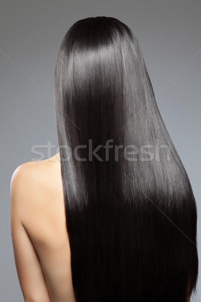 Kobieta długo prosto błyszczący włosy luksusowy Zdjęcia stock © tommyandone
