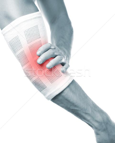 Könyök fájdalom fájdalmas fitnessz háttér gyógyszer Stock fotó © tommyandone