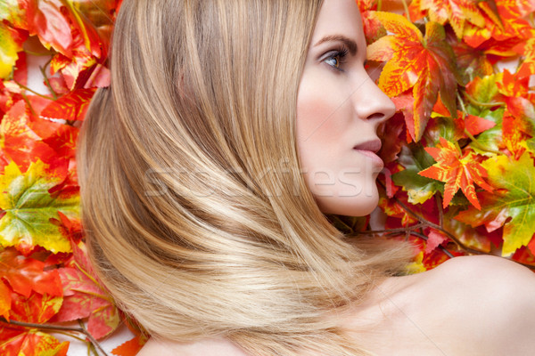 Beautiful young woman lying on leafs Stock photo © tommyandone