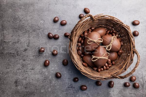 çikolata easter bunny yumurta ahşap lezzetli Paskalya Stok fotoğraf © tommyandone