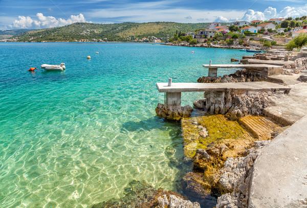Hermosa playa Croacia turquesa naturaleza océano Foto stock © tommyandone