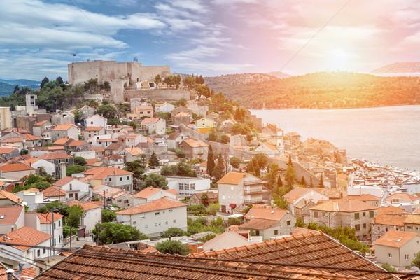Barrio antiguo Croacia puesta de sol edificio ciudad sol Foto stock © tommyandone
