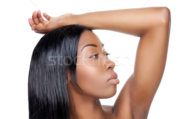 Zwarte schoonheid steil haar witte vrouw huid Stockfoto © tommyandone