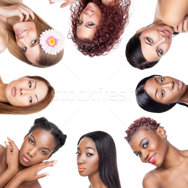 Collage of multiple beauty portaits of women with various skin tones Stock photo © tommyandone