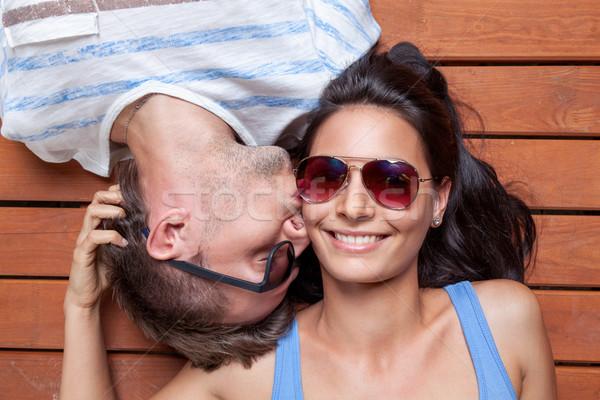 Feliz cabeza mujer nina Foto stock © tommyandone