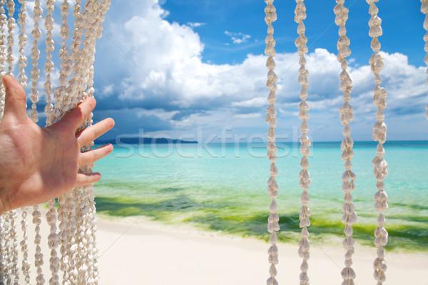 üdvözlet édenkert tengerpart tenger kagyló függöny Stock fotó © tommyandone