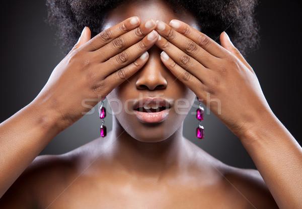 черный красоту глазах оба рук тело Сток-фото © tommyandone