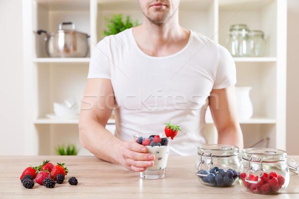 Adam lezzetli yoğurt taze karpuzu sağlıklı beslenme Stok fotoğraf © tommyandone
