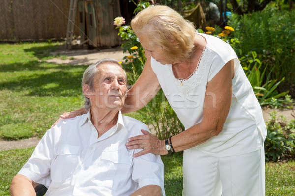 Elderly couple enjoying life together Stock photo © tommyandone
