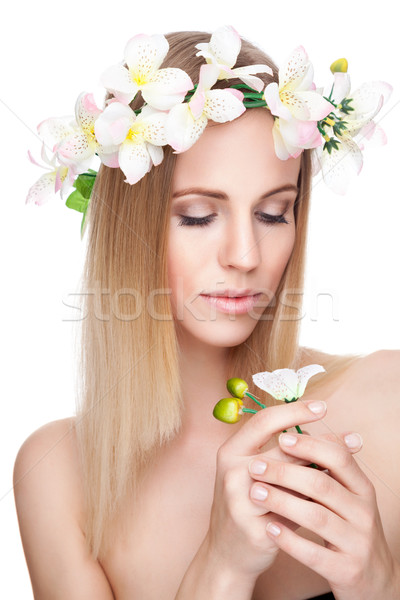 Beautiful woman with a crown of flowers  Stock photo © tommyandone