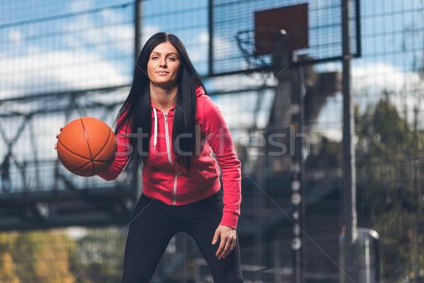 Feminino treinamento ao ar livre local tribunal Foto stock © tommyandone