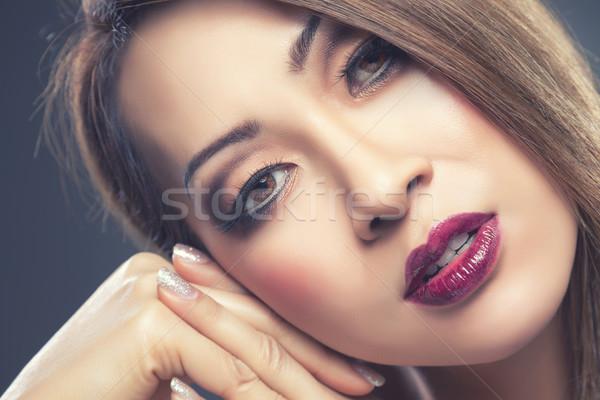 Schönen thai Frau Make-up Nägel jungen Stock foto © tommyandone