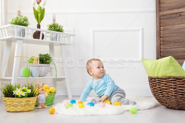 Easter egg hunt çok güzel çocuk oynama paskalya yumurtası ev Stok fotoğraf © tommyandone