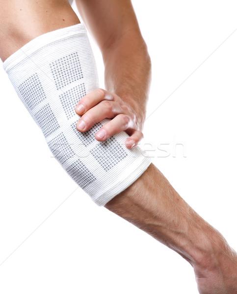 Elleboog pijn pijnlijk fitness achtergrond geneeskunde Stockfoto © tommyandone