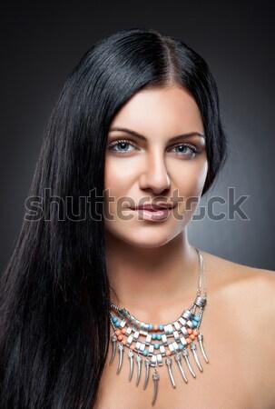 Młodych piękna długo ciemne włosy doskonały skóry Zdjęcia stock © tommyandone