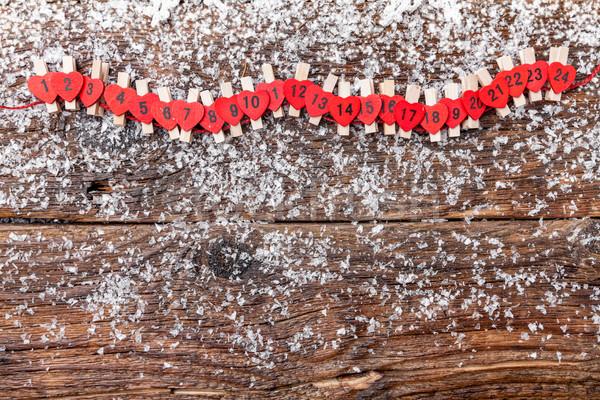 Karácsony advent naptár hó hagyományos fa Stock fotó © tommyandone