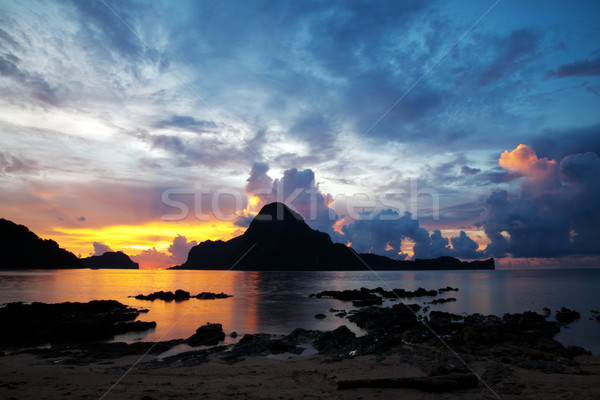Stock photo: Beautiful sunset in El Nido