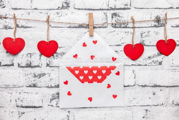 любви сердцах письме строку подвесной текстуры Сток-фото © tommyandone