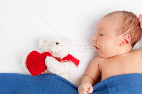 Aranyos újszülött baba plüssmaci pléd ágy Stock fotó © tommyandone
