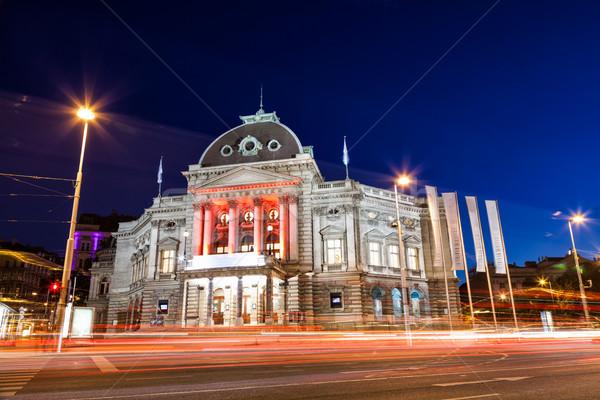 Viyana Avusturya gece Bina yol şehir Stok fotoğraf © tommyandone