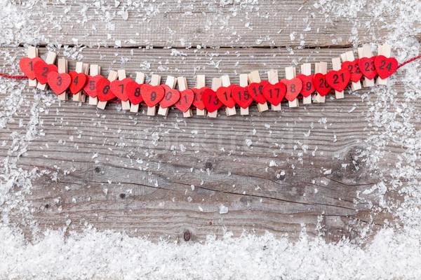 クリスマス 出現 カレンダー 雪 伝統的な 木材 ストックフォト © tommyandone