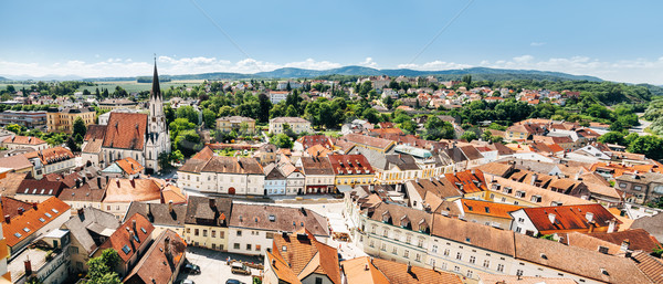 Panoramic view of Melk located in lower Austria Stock photo © tommyandone