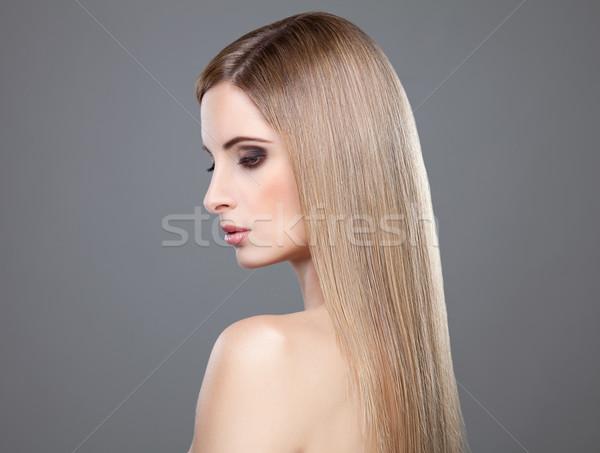 Profiel schoonheid lang steil haar rechtdoor blond haar Stockfoto © tommyandone