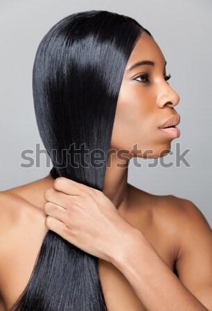 ブルネット 長い ストレートヘア 美しい 小さな 髪 ストックフォト © tommyandone