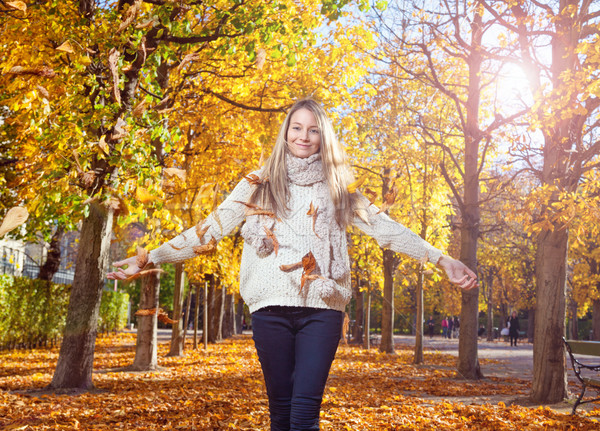 Young woman enjoying the colors of autumn Stock photo © tommyandone