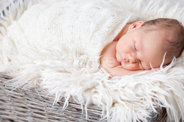 Beautiful newborn inside a basket Stock photo © tommyandone