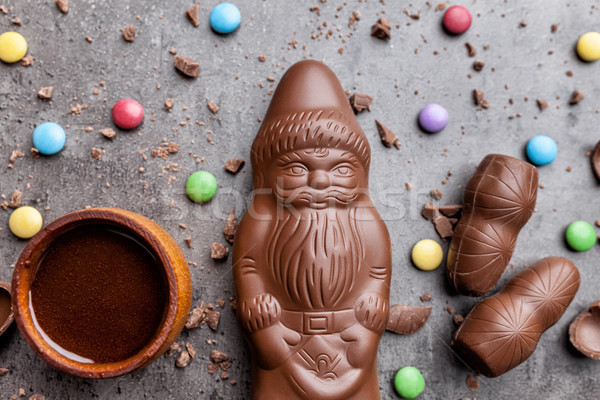 Stock photo: Delicious Christmas chocolate and sweets on rustic background