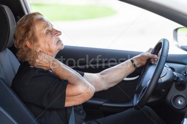Idős nő mögött kormánykerék autó nő boldog Stock fotó © tommyandone