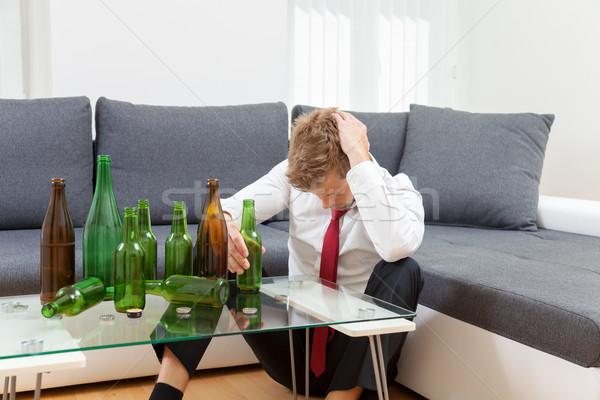 депрессия бизнесмен пьяный домой пусто бутылок Сток-фото © tommyandone