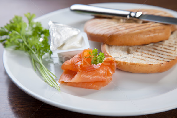 ベーグル クリーム チーズ 鮭 新鮮な 魚 ストックフォト © tommyandone