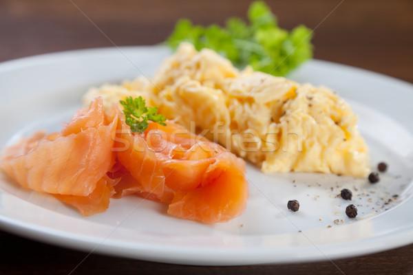Zalm roereieren smakelijk schotel vis restaurant Stockfoto © tommyandone