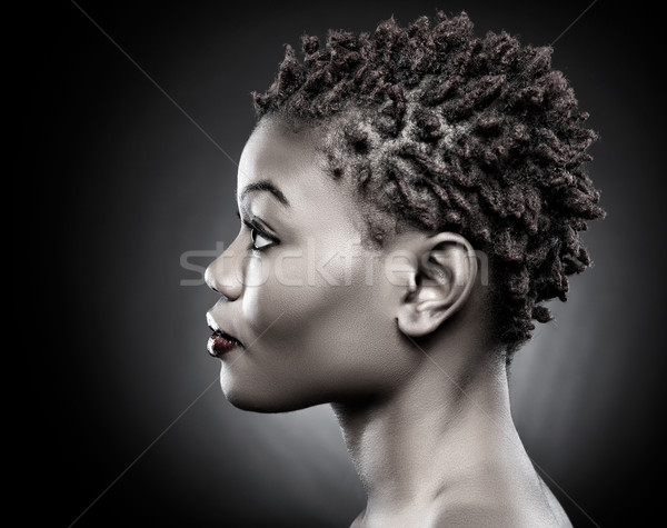 Black beauty with short spiky hair Stock photo © tommyandone