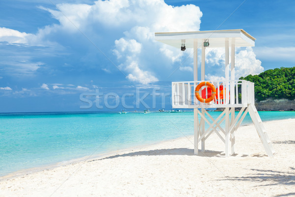 Pristine waters and white sand in Boracay Stock photo © tommyandone