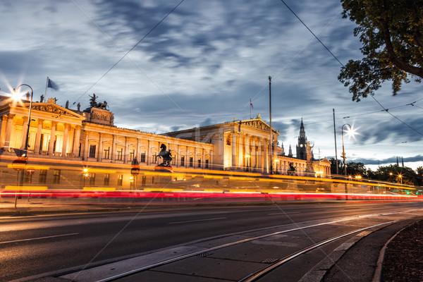 Parlament épület gyűrű út Bécs történelmi Stock fotó © tommyandone